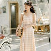 洋裝 連身裙 長洋裝2019新款仙女超仙甜美文藝小清新格子吊帶裙連衣裙夏季學生長裙子