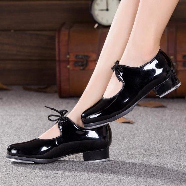 男女款兒童踢踏舞鞋耳朵女式成人黑色漆皮系帶踢踏舞蹈鞋跳舞鞋子