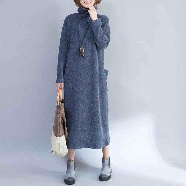 漂亮小媽咪 大碼洋裝 【D5880】 秋冬 針織 高領 後開叉 長裙洋裝 寬鬆 孕婦裝 孕婦洋裝