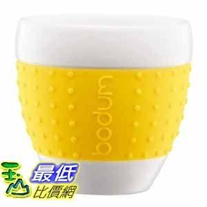 [美國直購 ShopUSA] Bodum 8-ounce Pavina Porcelain Cups with Silicone Grip, Yellow, Set of 2