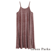 「Hot item」光滑絲絨細肩帶連身洋裝 - Green Parks