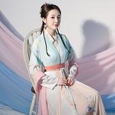 夏季漢服女中國風學生仙氣飄逸古風超仙齊腰日常可穿全套古裝長袖2 幸福第一站 幸福第一站
