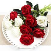 仿真玫瑰花單支 假玫瑰花仿真花束 客廳擺設裝飾花塑料花絹花假花     韓小姐の衣櫥