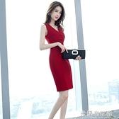 無袖洋裝 夏季女裝2021新款時尚氣質通勤職業OL無袖V領顯瘦修身包臀連衣裙 快速出貨