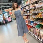 VK精品服飾 韓國風寬鬆時尚優雅V領拼接撞色長袖洋裝