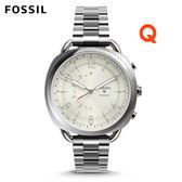 FOSSIL Q Accomplice銀色輕薄款不鏽鋼指針式智慧手錶 女 FTW1202