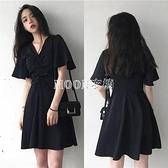 新款胖MM法式復古小黑裙顯瘦收腰遮肚短袖中長款A字裙洋裝 快速出貨