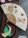 復古風古色古香蝴蝶貓咪折扇子日用扇夏季折扇子漢服攝影拍照竹女 極簡雜貨