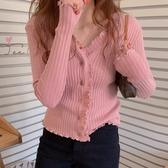 韓國IG熱門款風可甜可咸小設計卷邊v領春夏新款坑條百搭顯瘦排扣t恤女 居享優品