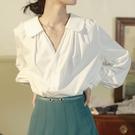 燈籠袖上衣 襯衫女設計感小眾復古港味別致襯衣燈籠袖寬鬆上衣內搭春季打底衫-Ballet朵朵