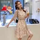 洋裝 韓系春夏V領小碎花雪紡收腰喇叭袖短袖氣質連身短裙 共3色 S-XL 依二衣