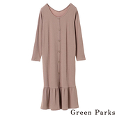 「Spring」2way寬圓領荷葉邊長袖洋裝 - Green Parks