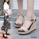 涼鞋.絨面氣質金片楔型厚底涼鞋【K5343】黑 / 白