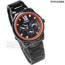 TIVOLINA 三眼多功能 亮色對比設計面盤 羅馬時刻 男錶 日期顯示窗 不銹鋼 黑色x橘 MAW3698KP