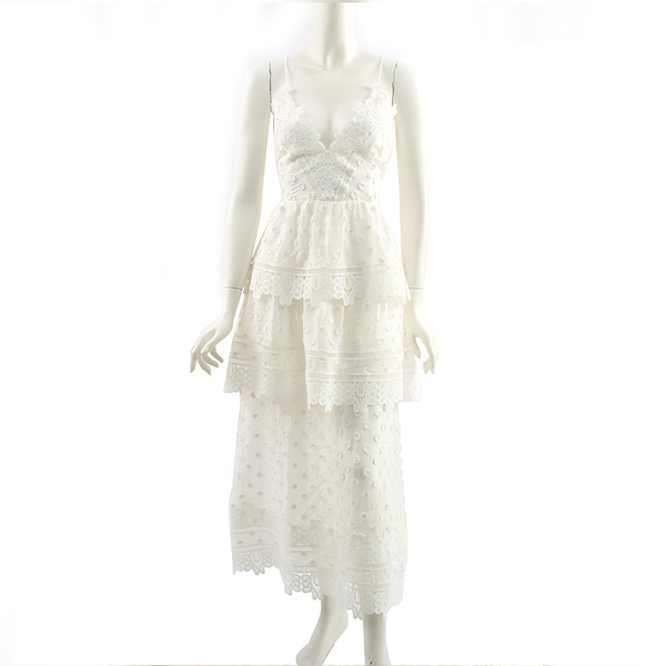 【self-portrait】白色小花細帶蕾絲層次長洋裝 SP9008W