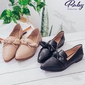 鞋子 RCha。蝴蝶結尖頭平底樂福鞋-Ruby s 露比午茶