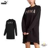Puma 女款 黑 長版上衣 連身裙 長袖 上衣 運動風 刷毛 運動 健身 休閒 85186801