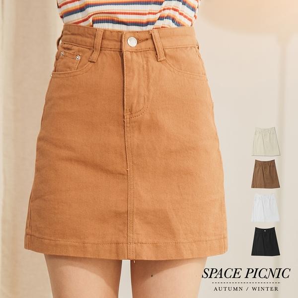 單寧 裙 Space Picnic|銀釦雙口袋設計單寧牛仔短裙(現+預)【C18091081】