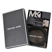 美國正品 MICHAEL KORS 男款 緹花LOGO小MK雙釦頭雙面用寬版皮帶禮盒組-咖啡色【現貨】