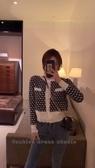 依米迦 新款小香風針織開衫外套短款外搭洋氣千鳥格毛衣