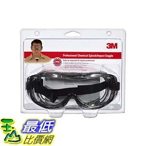 [9美國直購] 護目鏡 3M 防疫眼罩 91264-80025 Chemical Splash/Impact Goggle, 1-Pack