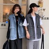 牛仔外套女韓版寬鬆學生春秋新款bf風工裝坎肩牛仔馬甲