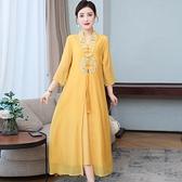 洋装 中大尺碼 闊太太中國風改良漢服女裝復古民族風中式旗袍禪意真絲茶服連身裙