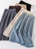 針織半身裙女秋冬季2020新款加厚高腰中長款大擺傘裙a字百褶裙子 非凡小鋪