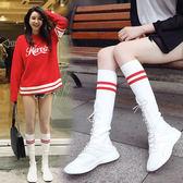 韓版2018夏季透氣彈力襪子鞋女長筒襪靴學院學生風毛線運動高幫鞋