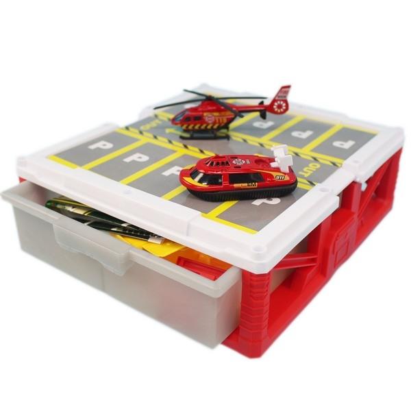 警察 消防 收納盒停車場 660-A194-5/一個入(促350) 汽車立體停車場 場景組合-睿660-A194-A195