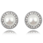 珍珠耳環 925純銀(耳針式)-鑲鑽迷人生日情人節禮物女飾品3色73bd41【時尚巴黎】