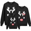 爆款黑色卡通聖誕麋鹿頭印花長袖親子裝情侶裝