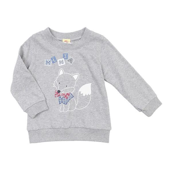 【愛的世界】純棉圓領小狐狸薄長袖上衣/4歲-台灣製- ★秋冬上著
