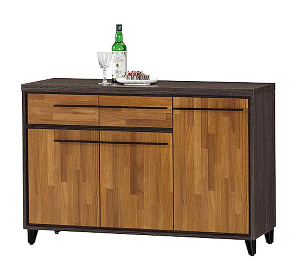 【森可家居】川普4尺餐櫃下座 10ZX633-3 廚房收納櫃 碗盤碟櫃 積層拼接木紋 工業風 MIT