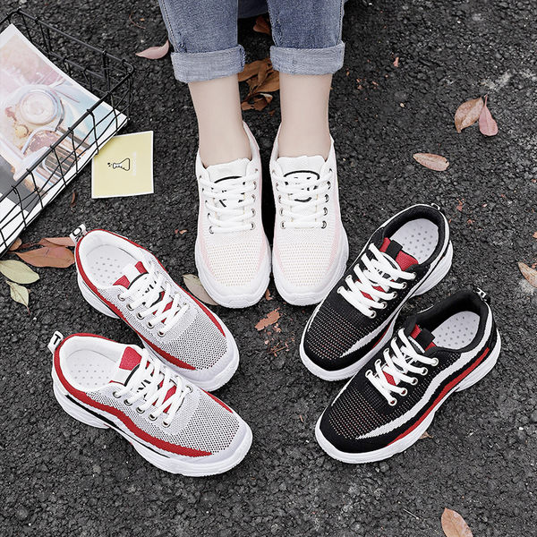 運動鞋女鞋跑步鞋 夏季新款輕便運動鞋女透氣減震耐磨休閒鞋慢跑鞋運動鞋【黑色地帶】