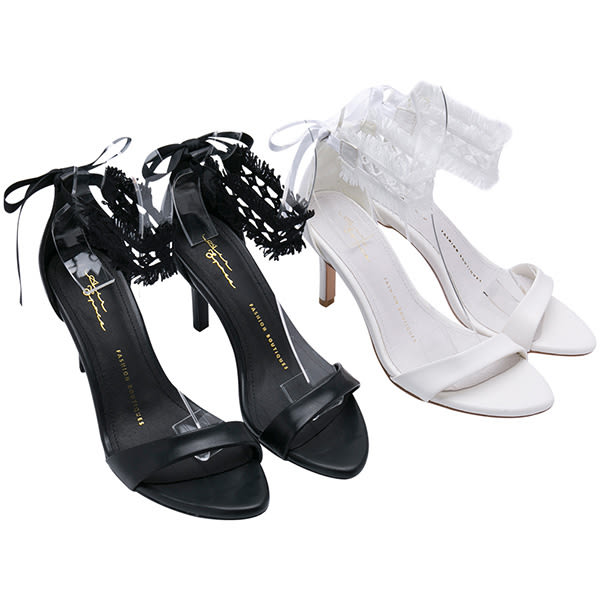 AIR SPACE CHIAO聯名蕾絲綁帶兩穿高跟鞋(黑)