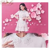 上衣 露比設計櫻花水鑽釘珠短袖上衣-粉-Ruby s露比午茶