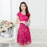 旗袍真絲復古印花連身裙