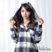 Victoria 格紋長版連帽長袖襯衫-女-藍白格