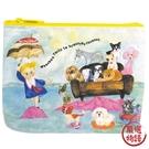 【日本製】【ECOUTE!】帆布萬用包 撐傘女孩與動物圖案 SD-3756 - ecoute!
