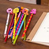 ✭慢思行✭【Q306-1】數字彈簧搖頭鉛筆(10支) 木製 文具 韓國 學生 辦公 閨密 禮物 繪畫 作業