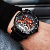 Tendence 天勢表 / TG230403 / 墨西哥 骷髏系列 礦石強化玻璃 防水100米 真皮手錶 銀紅x黑 47mm