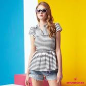 【SHOWCASE】條紋彈性伸縮造型俏麗襯衫(白)
