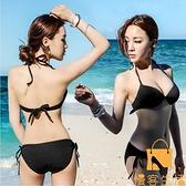 泳衣女韓國分體三點式性感ins三角比基尼聚攏胸度假泳裝【慢客生活】
