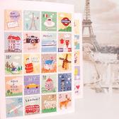 【BlueCat】手繪水彩風復古旅行郵票日記貼紙