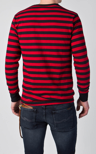 Deus Ex Machina Stevie Stripe Tee 長袖T恤   騎士衝浪品牌 -(紅黑條紋)