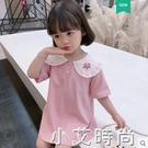 粉紅豹聯名女童中長款t恤兒童短袖洋氣寶寶上衣童裝2021夏裝新款 小艾新品