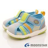 日本Moonstar機能童鞋 護趾機能輕量涼鞋 1368淺灰黃(寶寶段)