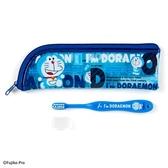 〔小禮堂〕哆啦A夢 兒童旅行牙刷附收納袋《藍.草莓》盥洗用品.旅行用品 4901610-67099