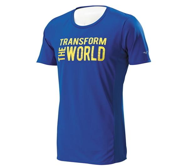 [陽光樂活]MIZUNO 美津濃 男 路跑短袖T恤 Transform The World 土耳其藍 高質感 J2MA600226